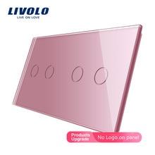 Livolo Luxury 7colors Pearl Crystal Glass,151mm*80mm, EU standard, Double Glass Panel C7-C2/C2-11 (4 Colors),logo/no logo