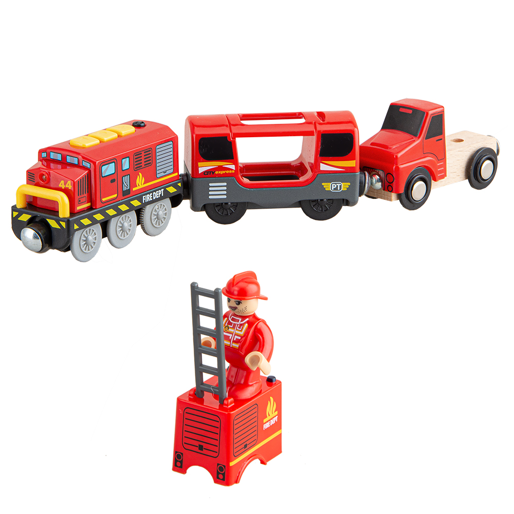 Firefighting Electric Train Toys Set Train Diecast Slot Toy Fit For Standard Wooden Train Track Railway