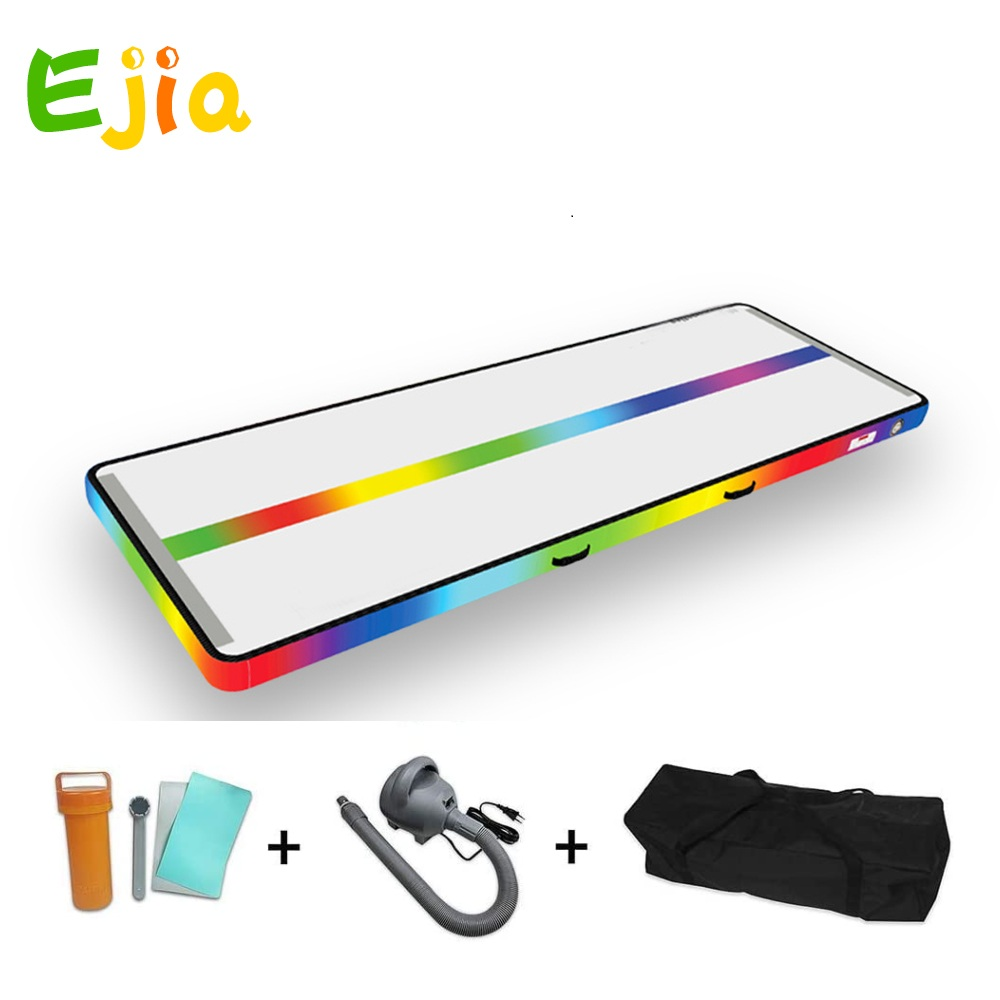 3m home used Rainbow design AirTrack inflatable air track  Gymnastics Mats with air pump for gymnastics training and Excrise