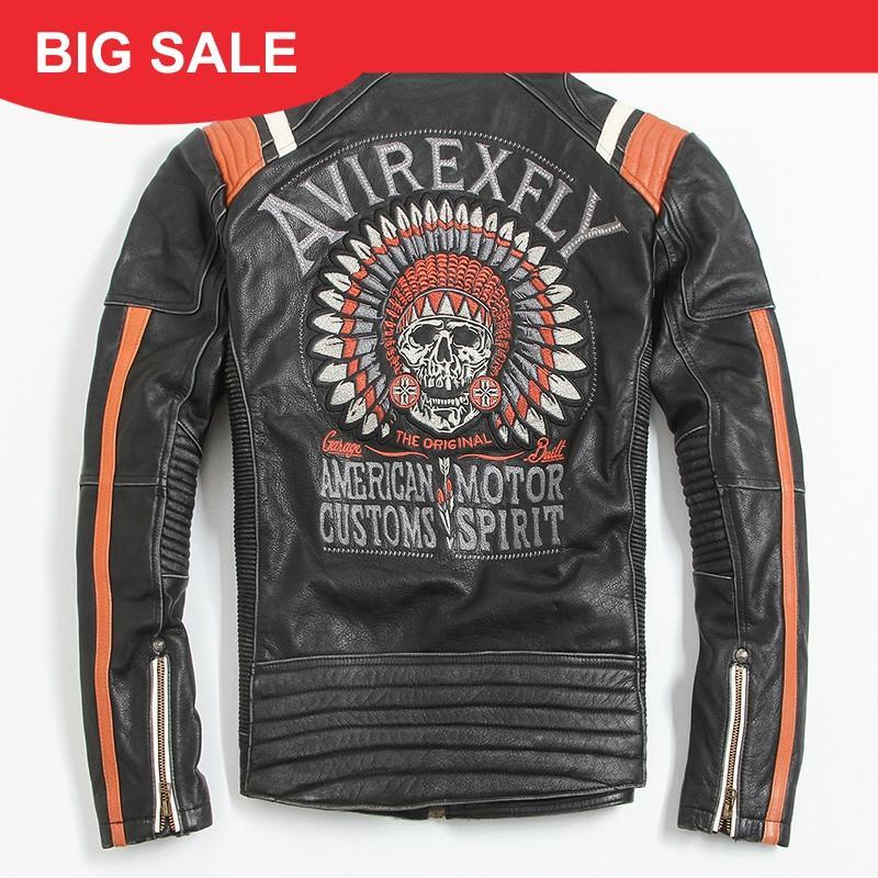 2020 Vintage Black Men Leather Motorcyclist Jacket Skull Embroidery Plus Size 3XL Genuine Cowhide Short Biker Coat FREE SHIPPING