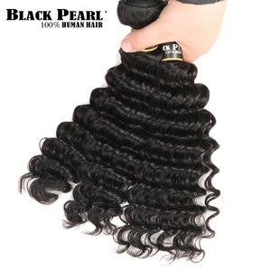 Image 2 - Czarne perły zestawy z głębokimi falami z zamknięciem Remy malezyjskie włosy 30 Cal zestawy z zamknięciem 3 wiązki z zamknięciem ludzkie włosy