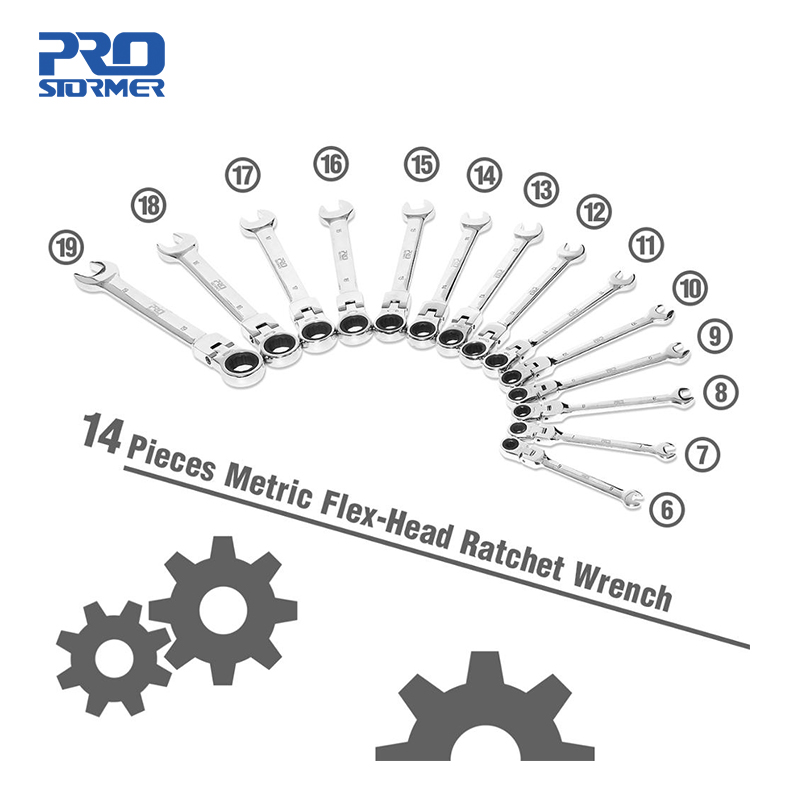PROSTORMER 14PCS Keys Set Multitool Wrench Ratchet Spanners Set Hand Tool Wrench Set Universal Wrench Tool Car Repair Tools