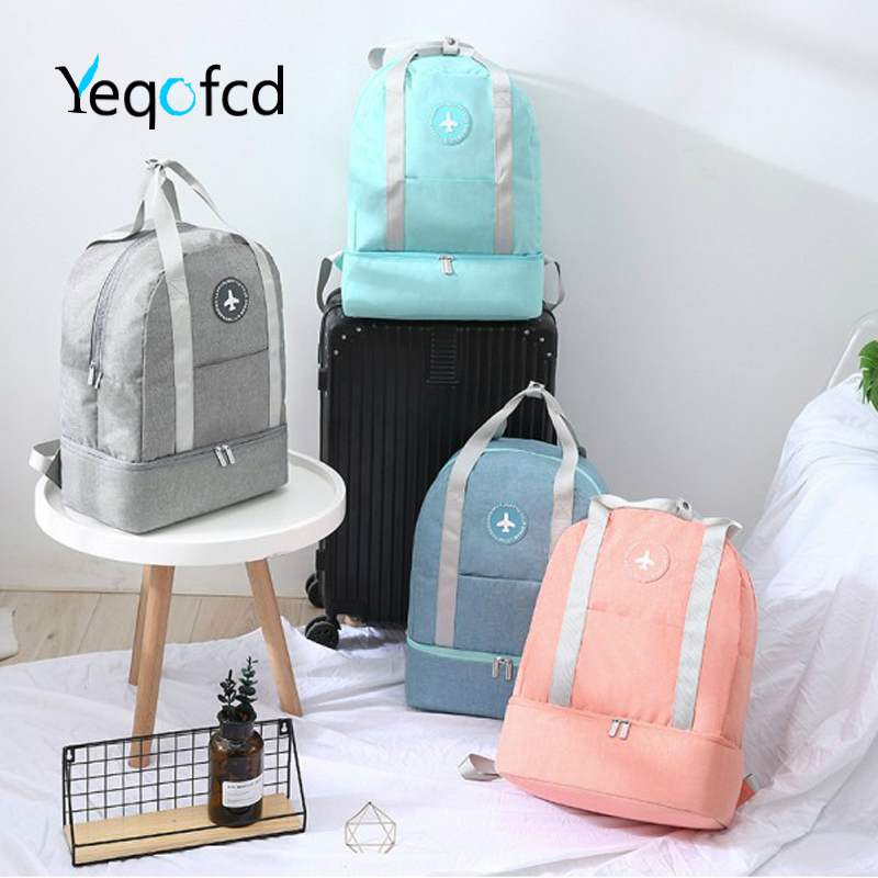 Yeqofcd Travel Bags Dry Wet Separation Backpack Women Man Leisure Knapsack Waterproof Nylon Fabric Unisex For Swimming
