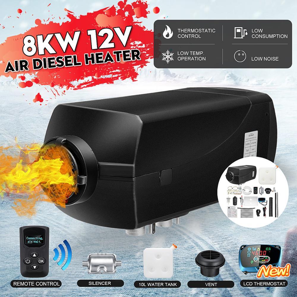 12V 8KW voiture chauffage Air Diesel chauffage 8kw LCD commutateur télécommande + silencieux Parking pour camping-Car RV caravane camion bateaux Bus