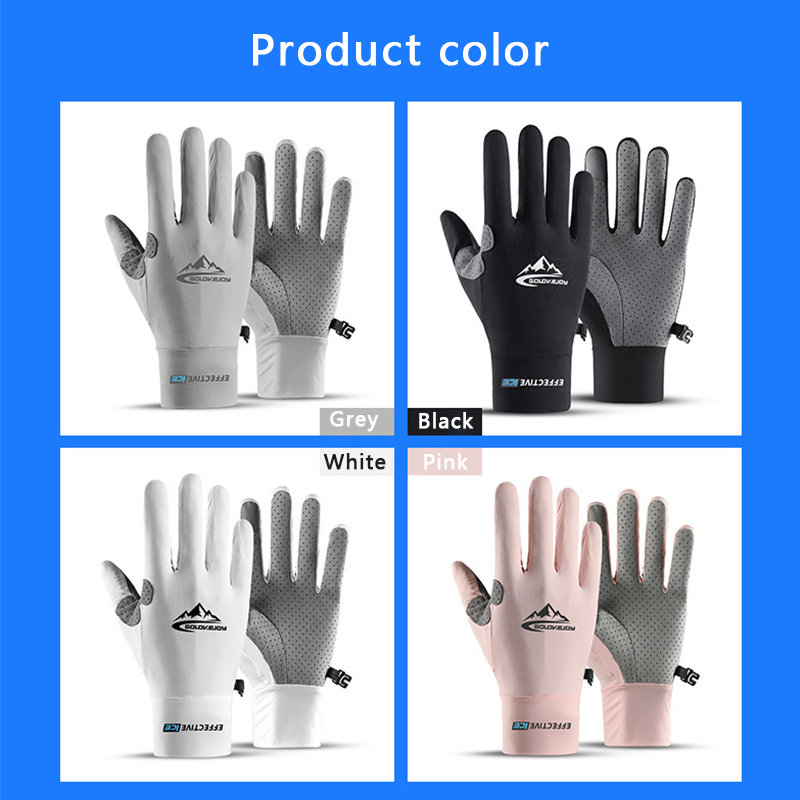 Outdoor Cycling Gloves Touch Screen Anti-skid Sports Sunscreen Summer Sweat-absorbent Breathable Ice Silk Cool Summer Glove New