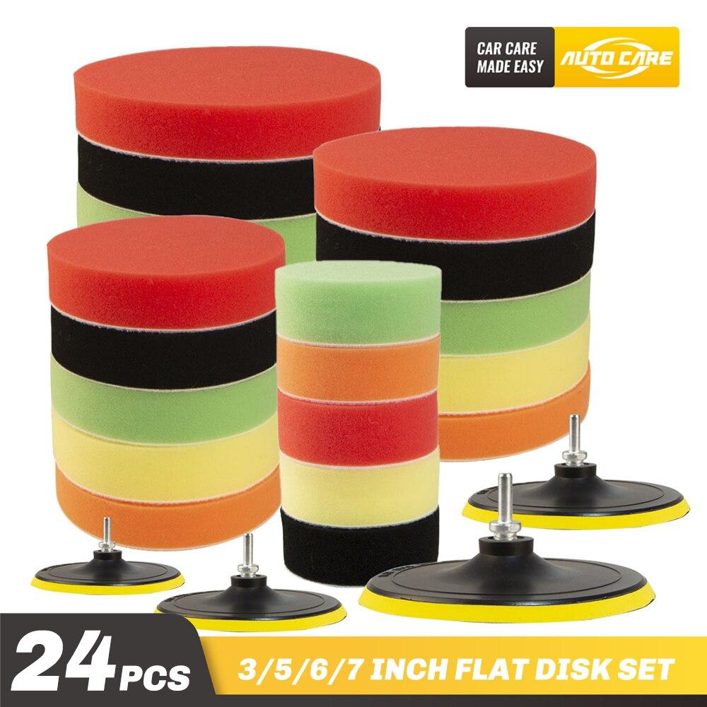 24 pcs set almofada de polimento polimento kit para polidor carro m14 rosca abrasiva ferramentas pulidora