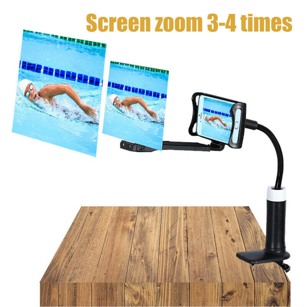 DishyKooker 10 12 inch Mobile Phone 3D Screen Video Magnifier Bracket Folding Enlarged Desktop Smartphone Movie HD Amplifying Projector Stand black 10 inches electronic product