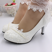 цены BaoYaFang Fashion and sweet wedding dress high heels white wedding shoes bridal lace wedding shoes