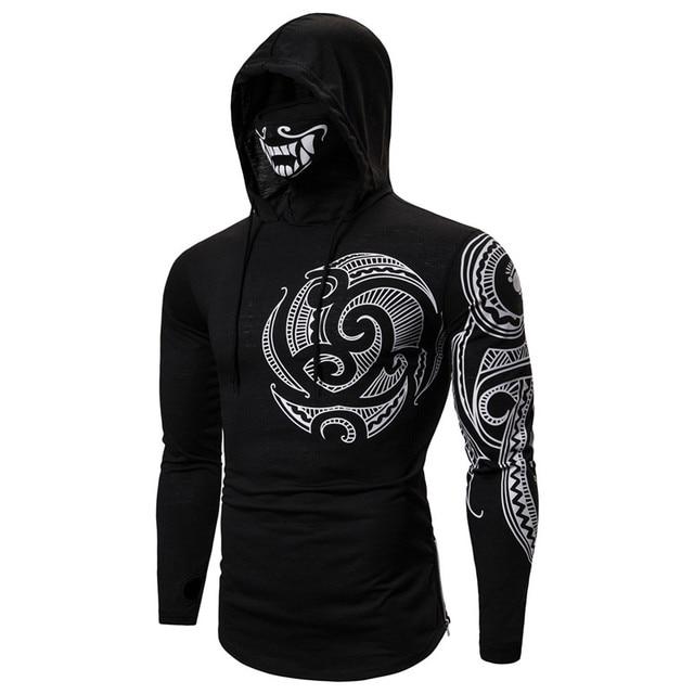 Men Trend With Mask Hood Sweatshirt Elastic Fitness Tattoo Print Hooded Sweat Homme Mens Hip Hop Sudadera Ninja Suit Streetwear 3