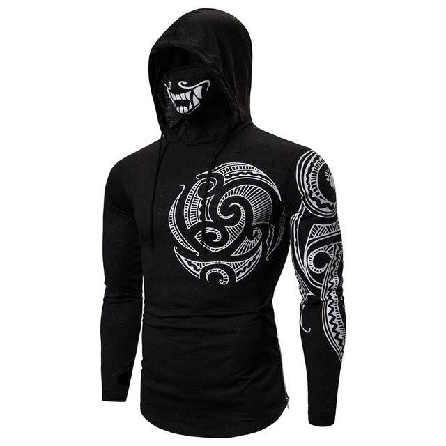 Men Trend With Mask Hood Sweatshirt Elastic Fitness Tattoo Print Hooded Sweat Homme Mens Hip Hop Sudadera Ninja Suit Streetwear 2