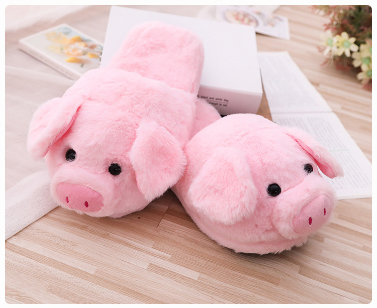 Kawaii 16cm Pink Pig Plush Toys & 26cm Indoor Warm Winter Adult Shoes Soft Stuffed Animals Pillows For Girls Kids Birthday Gifts