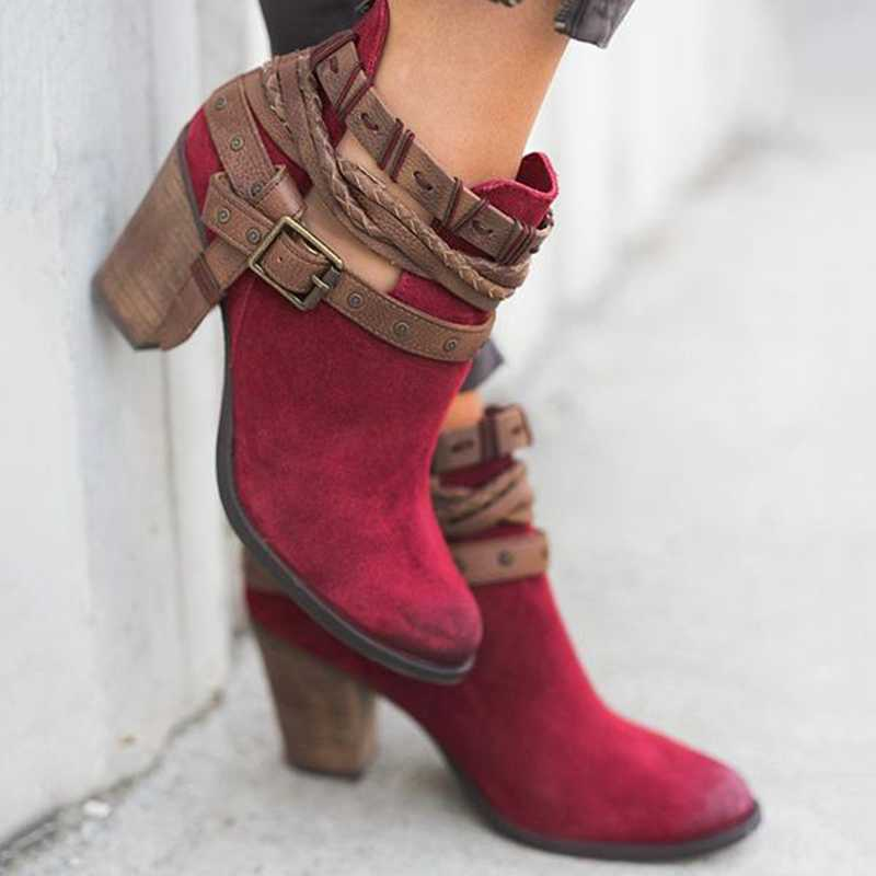 CYSINCOS Vintage çizmeler kadınlar toka PU yüksek topuklu ayakkabı ayakkabı kadın perçin toka günlük ayakkabı kısa yarım çizmeler