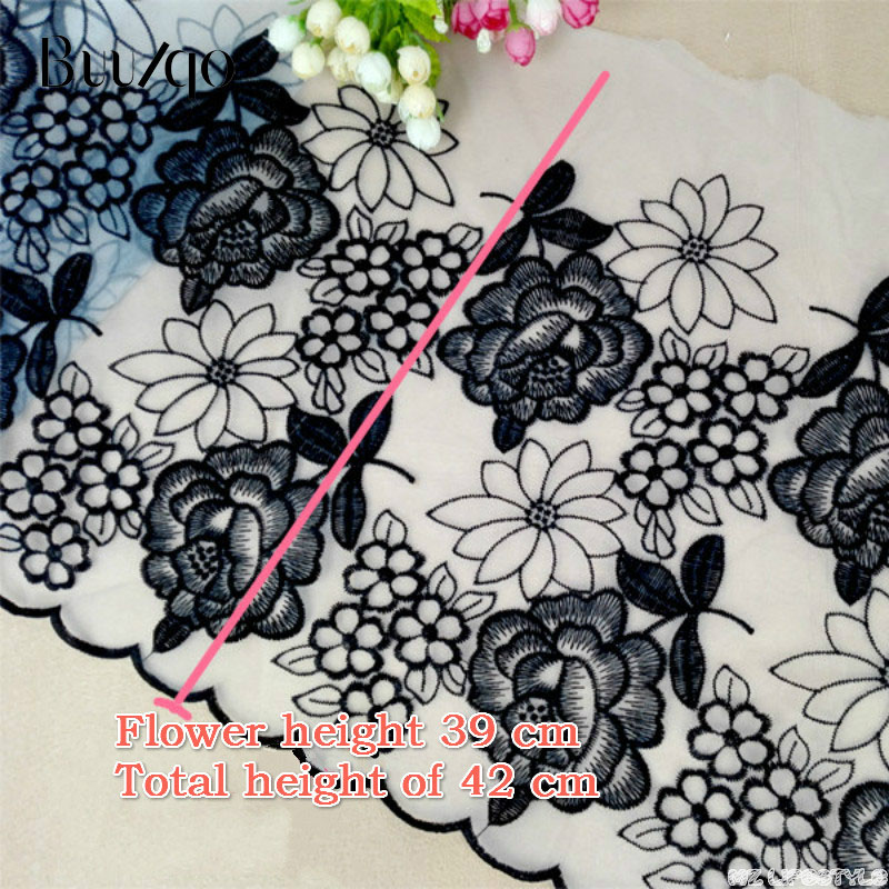 Lace Trim 100 * 42cm Wide French Organza Embroidery Lace Trim Fabric For Crafts Wedding Dress Trim