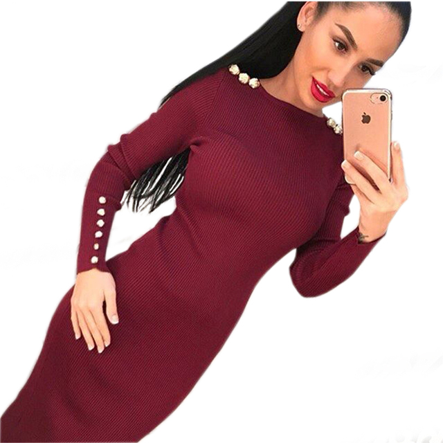Fashion Women Sexy Bodycon Dress Autumn Winter Knitted Midi Dress Robe Solid Package Hip Long Sleeve Dresses Ribbed Party GV420