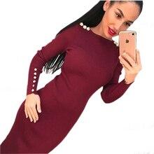 Moda damska seksowna obcisła sukienka jesienno zimowa sukienka Midi z dzianiny szata solidny pakiet do bioder sukienki z rękawami prążkowana strona GV420