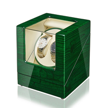 Double Watch Winder with Quiet Japanese Motor Green Color Watch Winder Box Automatic