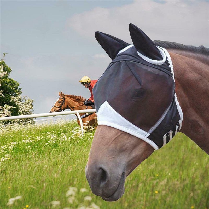 Horse Detachable Mesh Mask Horse Fly Masks With Ear Covers Comfortable Breathable Anti-Mosquito For Summer Use Horse Equipment