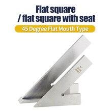 Cuadrado de prueba dibujar 45 grados boca plana escuadrones de tipo de ángulo regla plana de acero inoxidable con asiento oblicua regla con varios ángulos