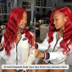 Image 3 - 13x4 dentelle avant perruques de cheveux humains 99J/bourgogne RedWine pré plumé vague de corps perruques de dentelle 150% densité brésilienne Remy perruque de cheveux KEMY