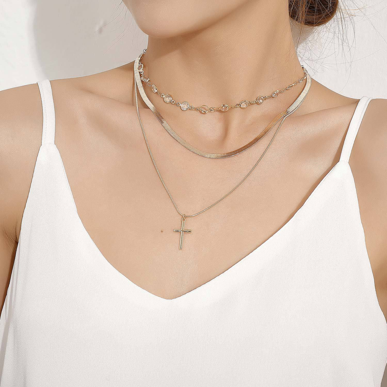 Cross Pendant Snake Clavicle Chain Rhinestone Choker Necklace for Women Gold Silver Color 2020 Fashion Jewelry Layered Necklaces