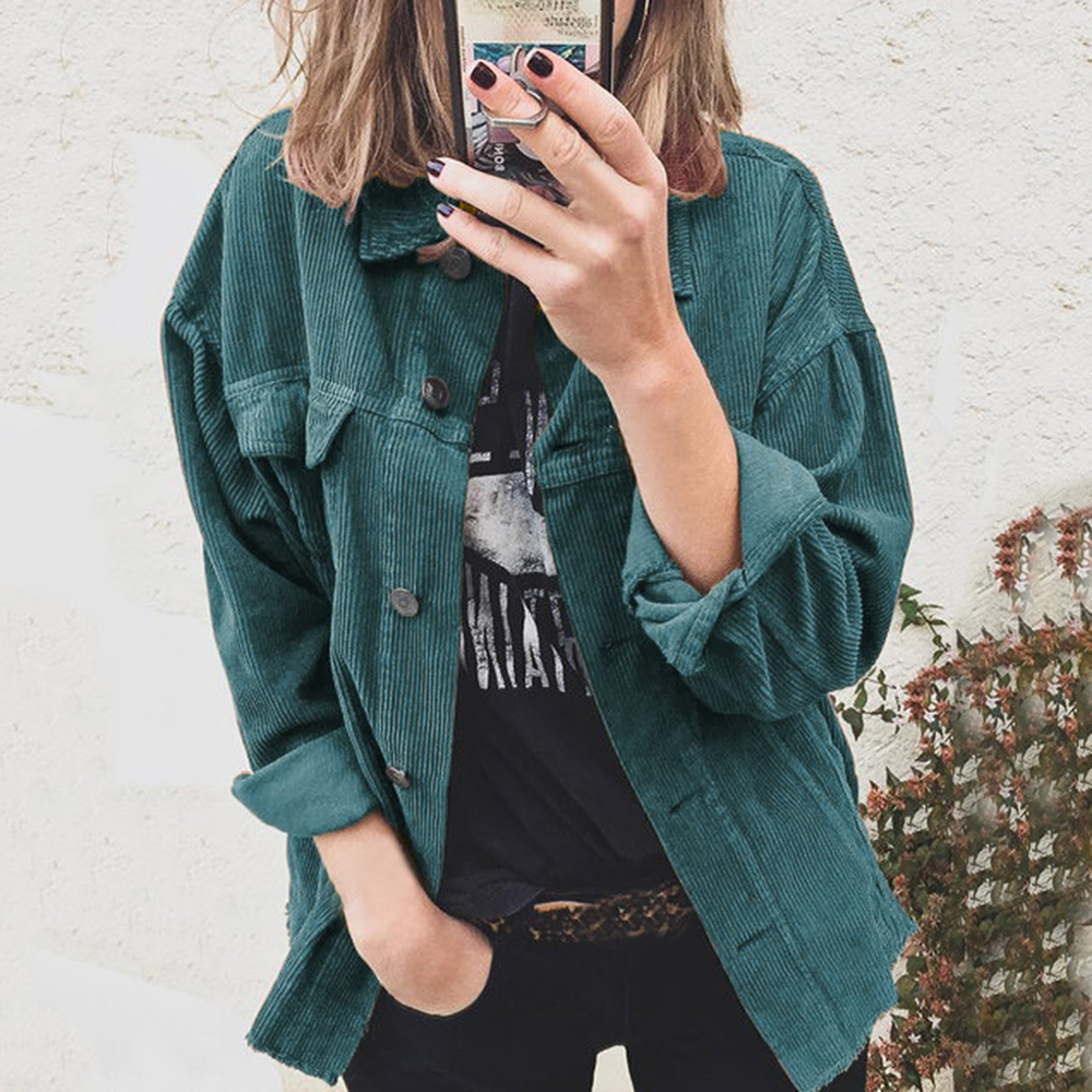 2020  Harajuku Jackets Women Winter Autumn Buttons Coats Overcoats Female Tops Cute Jackets Solid Color Clothing