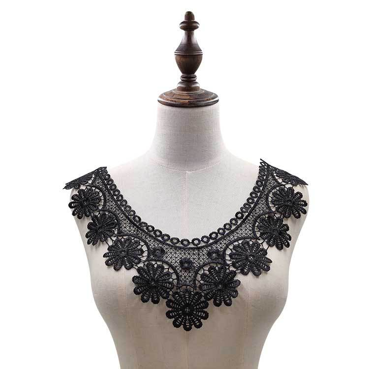 1PCS White Embroidered 3d Flowers Lace Venise Embroidery Patches DIY Lace Collar Neckline Decorate Wedding Dress Sew Craft