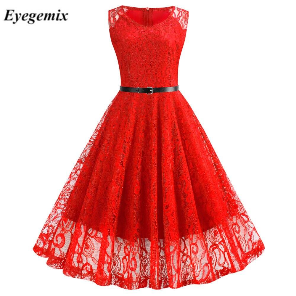 Летнее женское платье в винтажном стиле; Тонкие открытые однотонные платья женские элегантные с v-образным вырезом кружевное платье трапец...