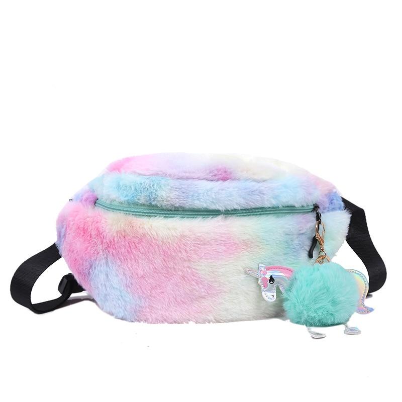 2020 New Unicorn Waist Bag For Women Fashion Plush Lovely Fanny Pack Girls Shoulder Belt Bags Kids Waist Packs Cartoon Phone