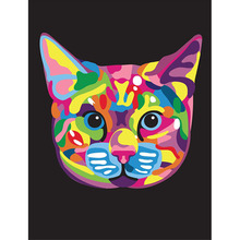 Frame Abstract Color Cartoon Cat Head Canvas Painting Digital Acrylic Hand Painted Canvas Oil Paintings for Home Decro