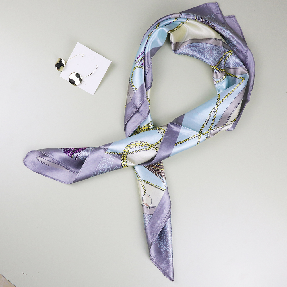 Blue Fashion 70*70 CM Silk Scarf With Gold Color Earrings For 8th March Woman's Day Gift