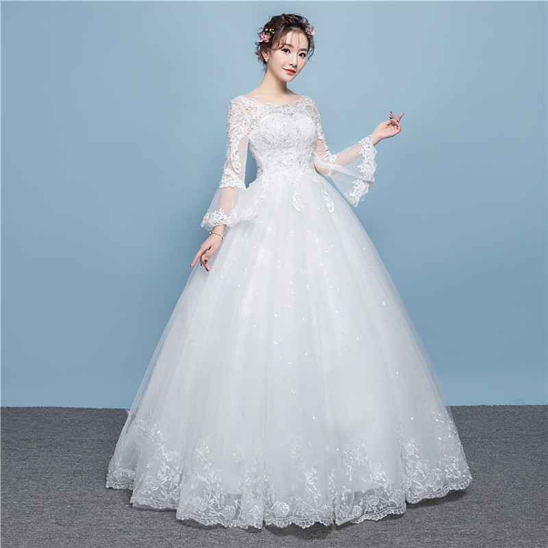 2019 Limited Vestido De Noiva New Bridal Wedding Dress Korean Version Lace Long Sleeve Show Thin Big Size Studio Neat Princess