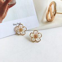 Temperamento bela resina flor brincos do parafuso prisioneiro moda coreana jóias femininas simples doce menina feminino acessórios