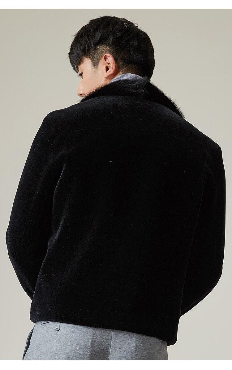 100% Wool Coat Winter Jacket Men Real Sheep Shearling Fur Coats Mens Mink Fur Collar Overcoat MG-1800043 MY1463