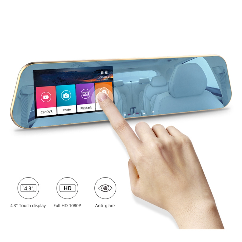 Full HD 1080P Touchscreen Car DVR Dual Cameras Rear View Mirror Night Vision Dash Cam DVR Digital Video Recorder