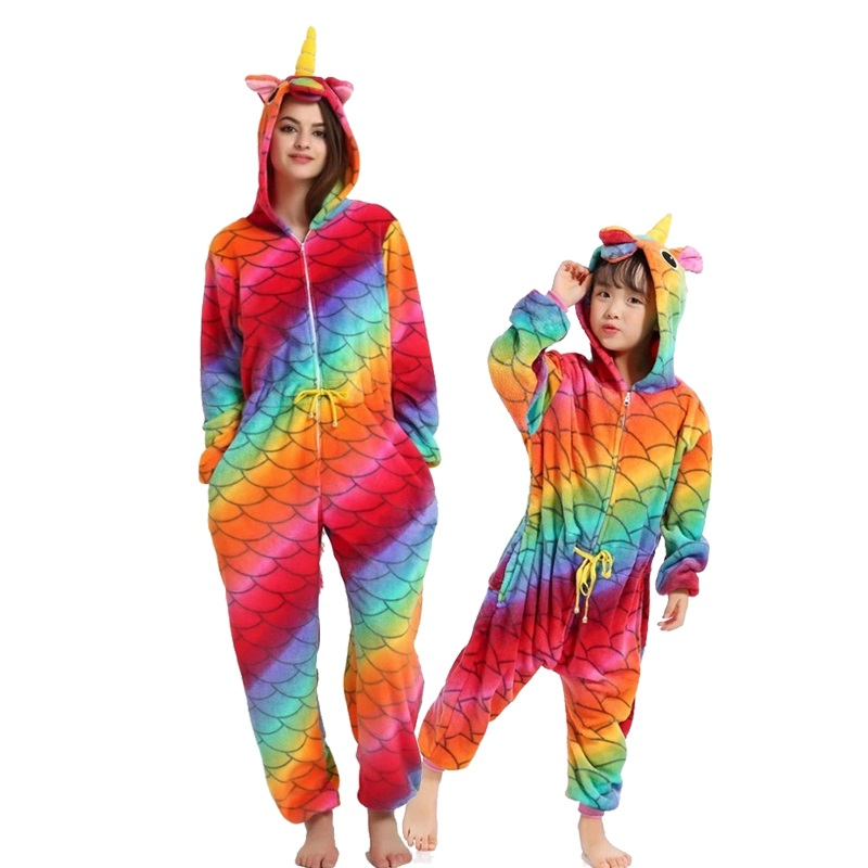 Image 2 - Kigurumi Adult Kids Unicorn Pajamas Animal  Stitch Mother and Daughter Family Matching Clothes Winter Flannel Women Kids Pyjamas-in Matching Family Outfits from Mother & Kids