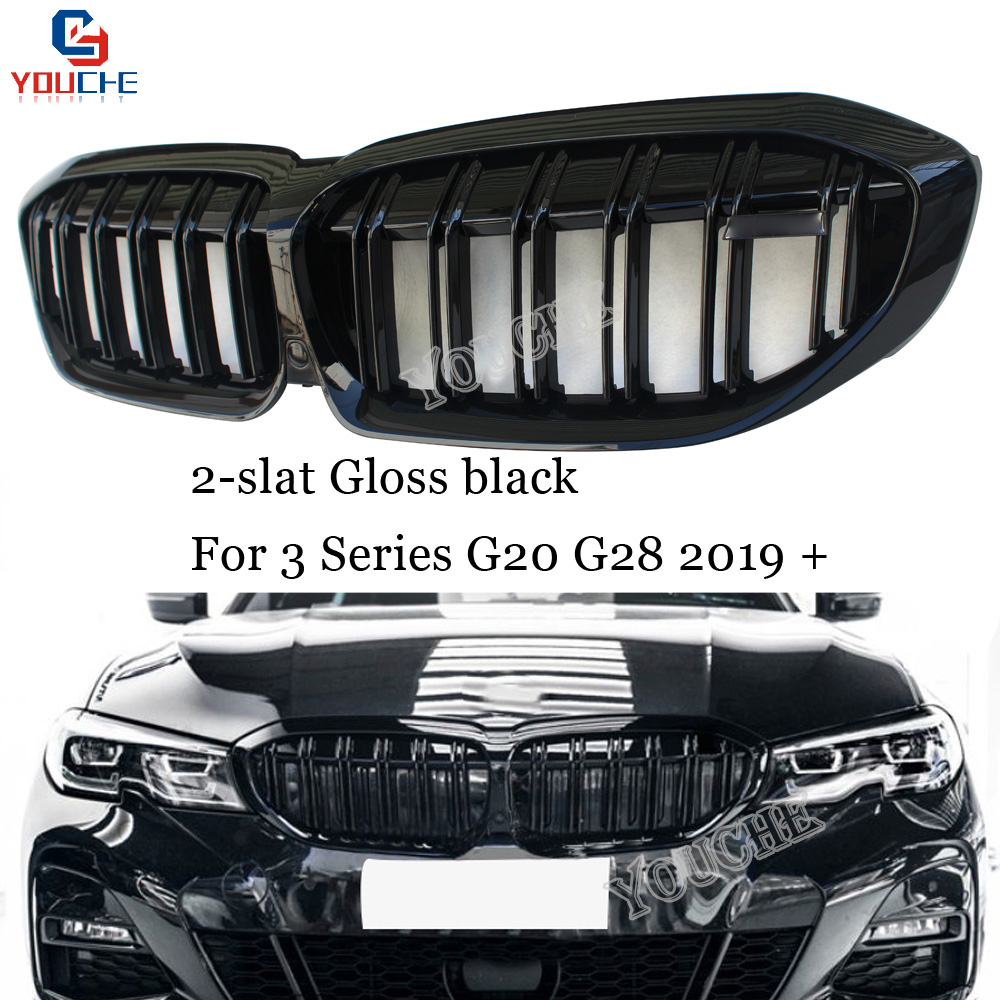 G20 G28 Front Grille Replacement 2 Slat ABS Kidney Grille for BMW New 3 Series G20 G28 2019 + Gloss Black Racing Grills|Racing Grills| |  - title=