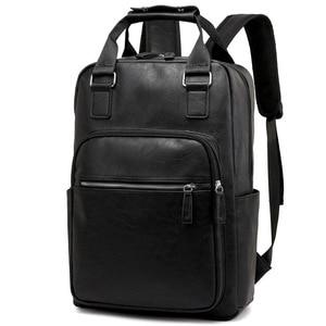 Waterproof 15.6 Inch Laptop Backpack Men Leather Backpacks for Teenager Travel Bag Casual Daypacks Mochila Male