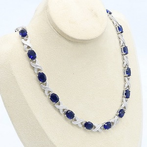 Image 5 - Blue Green Purple  Zircon Silver Color Necklace for Women Wedding  Jewelry Free Gift Box