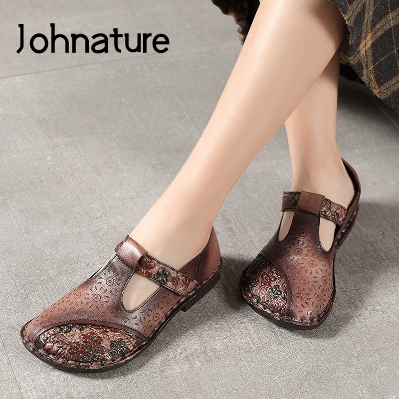 Johnature 2020 New Spring Flats Women Shoes Retro Genuine Leather Hook & Loop Round Toe Casual Shallow Flower Ladies Shoes