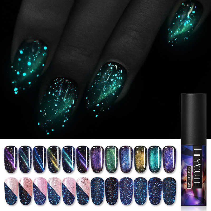 Lilycute 5 Ml Aurora Bercahaya Kucing Mata Kuku Gel Polandia Menyala Dalam Gelap 7D Magnetic Glitter Gel Varnish Rendam off UV LED Kuku