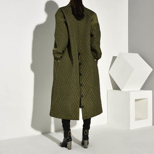 Image 5 - LANMREM  PLaided Cotton padded New Green Color Coat Long Sleeve Loose Fit Women Parkas Fashion Tide New Autumn Winter 2020