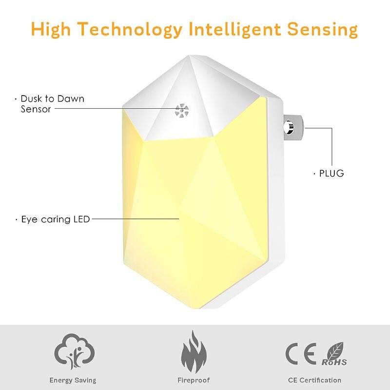 Warm LED Night Light Room Decor Light-control Sensor Wall Socket Lamp Home Bedroom Decoration 4XFB