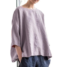 Oveize Solid Casual Women's Blouse Summer O-Neck Short Sleeve Women Blouse 2021 Autumn Trend Fashion New Streetwear Ladies Tops