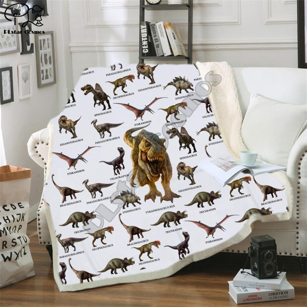 Kid Dinosaur Family 3D Print Cotton Blanket Jurassic Cartoon Boys Girl Throw Blankets Beds Tyrannosauru Children Bedding Outlet