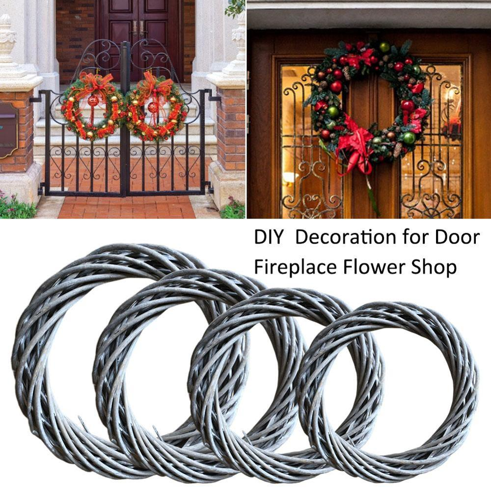 Diy Christmas Wreath Rings Hand Woven Rattan Rings Door Decoration