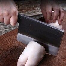 Profesjonalne 6 cal ręcznie kute nóż Santoku ze stali węglowej kute chiński nóż tasak do mięsa noże kuchenne