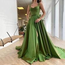 Green Satin Prom Dresses Sweetheart Sleeveless Spaghetti Straps Side Split Formal Evening Party Gowns Vestidos De Fiesta Custom