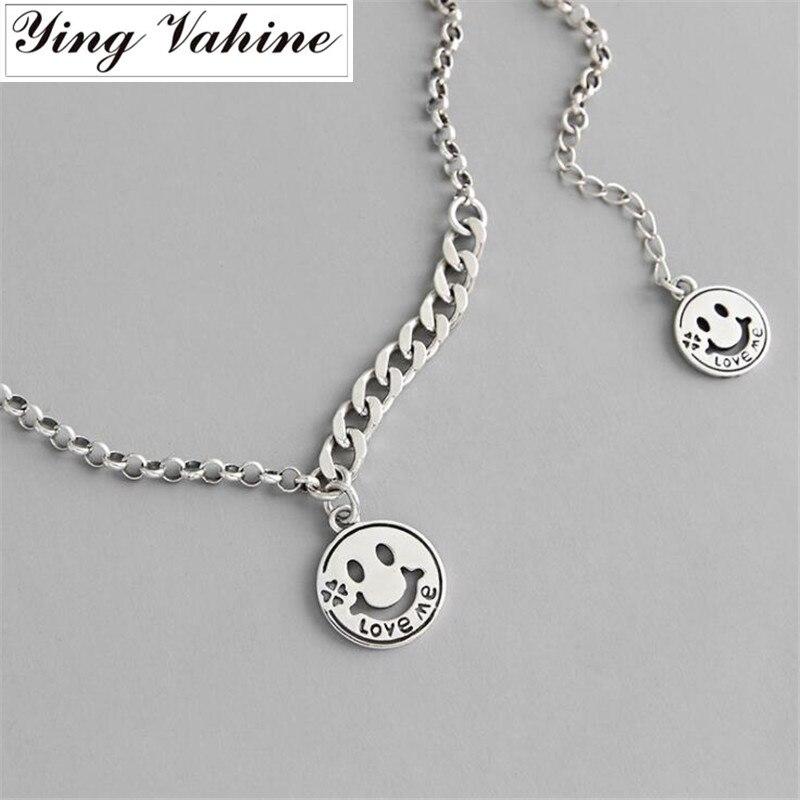 Ying Vahine 100% стерлингового серебра 925 улыбающееся лицо и письмо Love Me кулон ожерелья для женщин