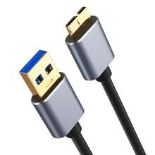 3.0 USB tip A mikro B Data Sync kablosu hızlı hızlı USB3.0 kablosu harici sabit Disk Disk HDD için samsung S5 not 3 konnektör