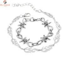 Punk Style Silver Thorns Bracelet Harajuku Streetwear Flame Bangles Bracelets for Women Men Personalized Jewelry Gift